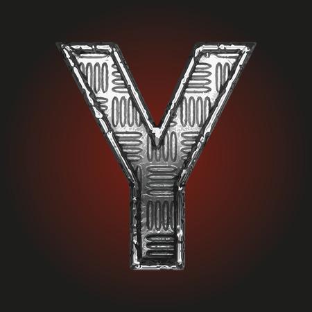 brushed aluminum: y vector metal letter Illustration
