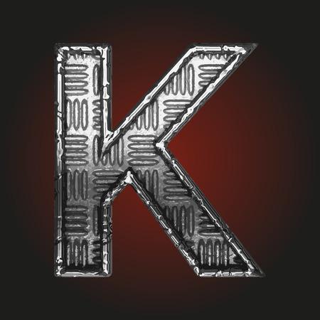 brushed aluminum: k vector metal letter