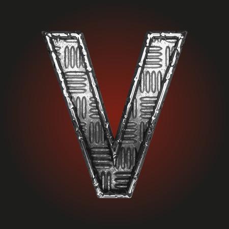 brushed steel: v vector metal letter