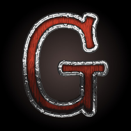 abstruse: g vector metal letter with wood
