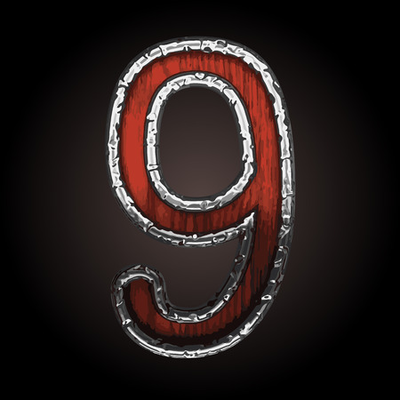 metall texture: 9 vector metal letter with wood