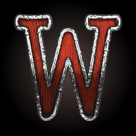 abstruse: w vector metal letter with wood Illustration