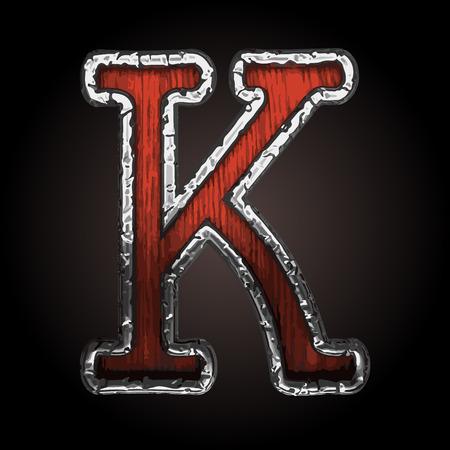 abstruse: k vector metal letter with wood Illustration
