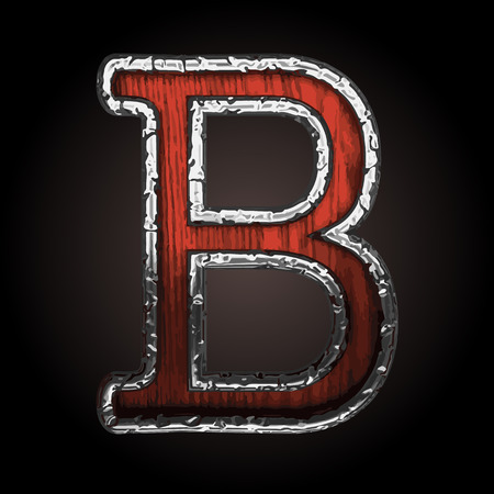 metall texture: b vector metal letter with wood