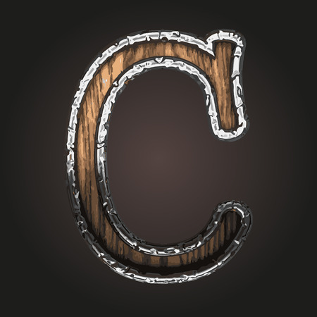 metall texture: c vector metal letter with wood