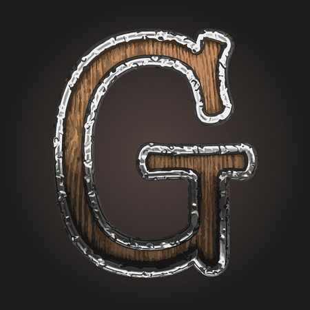 blemish: g vector metal letter with wood