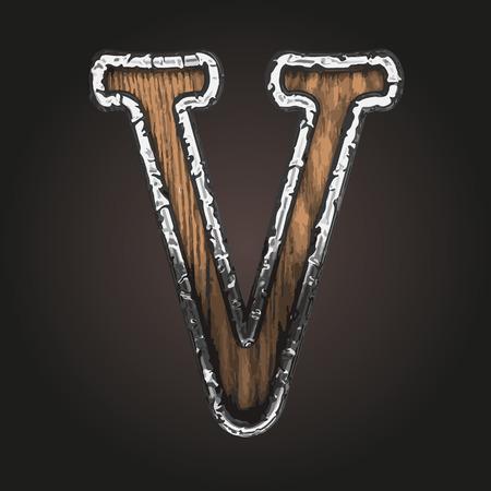 abstruse: v vector metal letter with wood Illustration