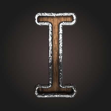 metall texture: i vector metal letter with wood Illustration