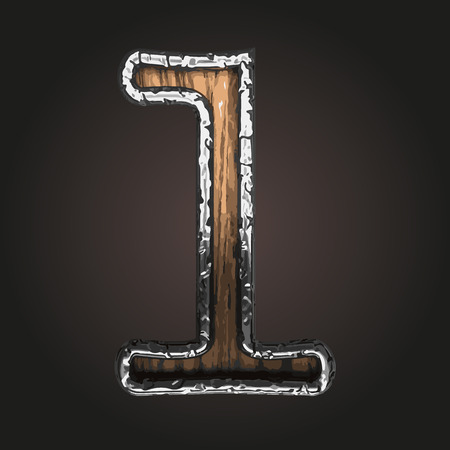 abstruse: 1 vector metal letter with wood Illustration