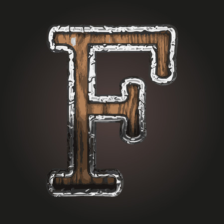 abstruse: f vector metal letter with wood Illustration
