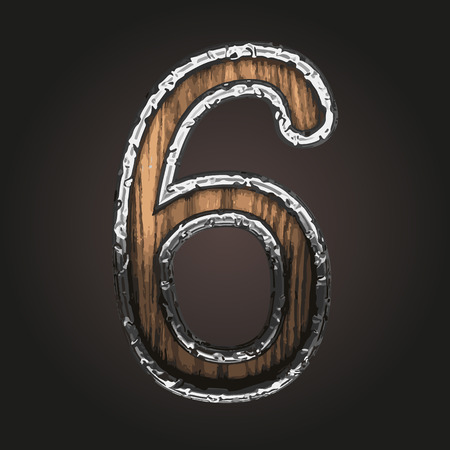 abstruse: 6 vector metal letter with wood