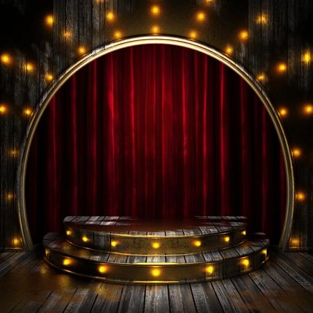 rode gordijn podium met verlichting Stockfoto