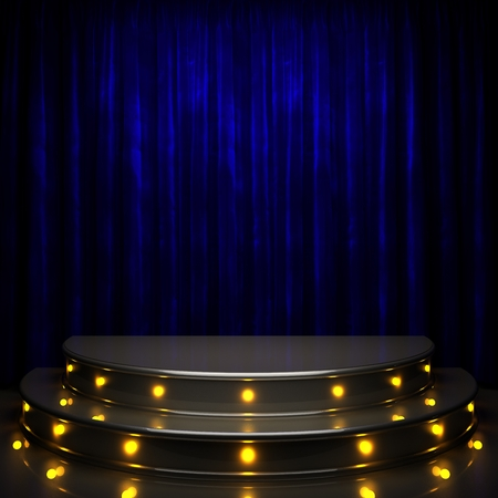 stage spotlight: blue curtain stage with lights