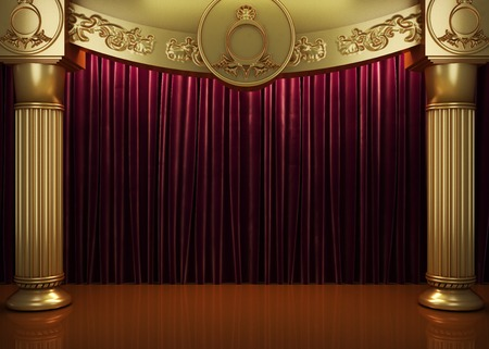 stage: red curtain stage