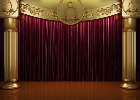 rood gordijn podium Stockfoto