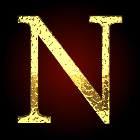 golden: n vector golden letter