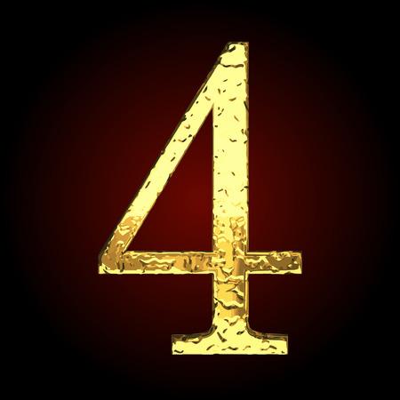 golden: 4 vector golden letter Illustration