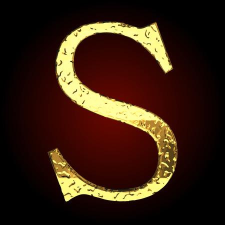 golden: s vector golden letter