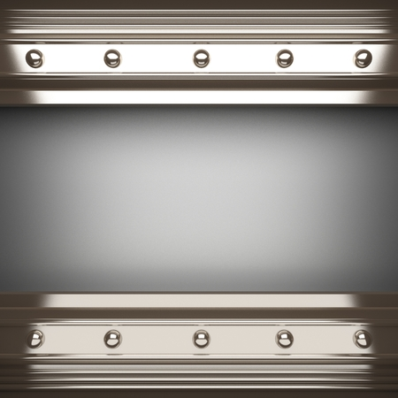 metal plate: polished metal element on gray background