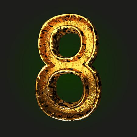 golden: 8 vector golden letter Illustration