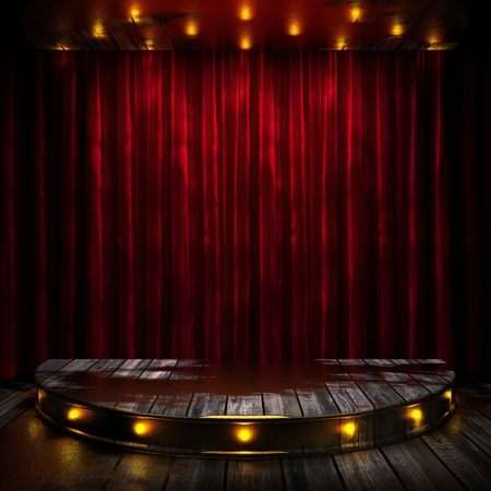 stage spotlight: red curtain stage with lights