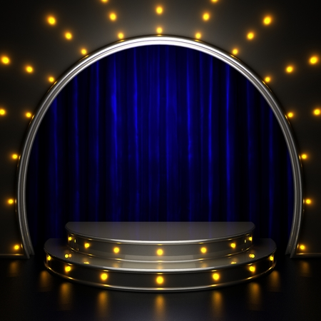 presentation background: blue curtain stage with lights