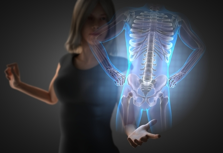 radiography: woman and hologram with bones radiography Stock Photo