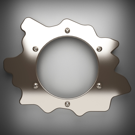 durable: polished metal element on gray background