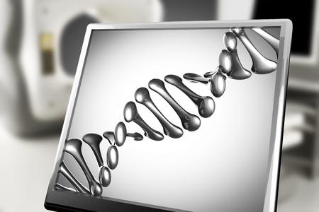 cytosine: DNA model on monitor in laboratory
