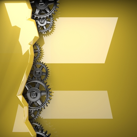 rack wheel: yellow polighed metal background with gears