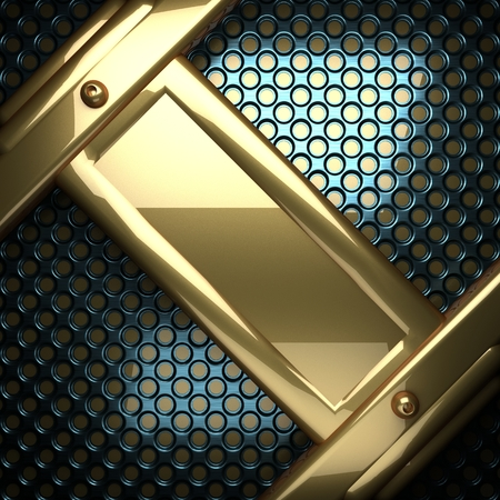 stainless steel sheet: blue metal background with yellow element