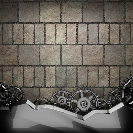 rack wheel: stone wall background with metal gears