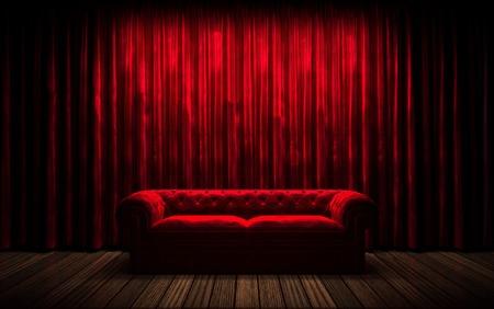 rood gordijn podium met sofa