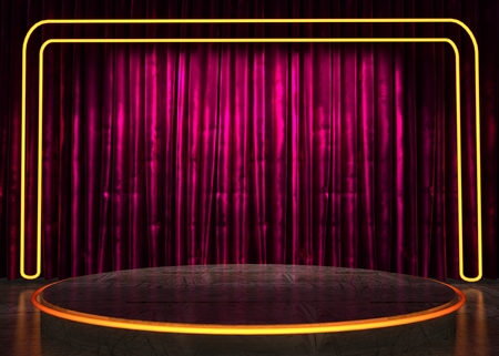 res: res curtain stage with neon lights