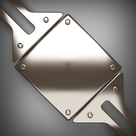 sheet iron: polished metal element on gray background