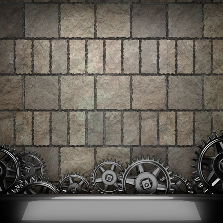 watch gears: stone wall background with metal gears