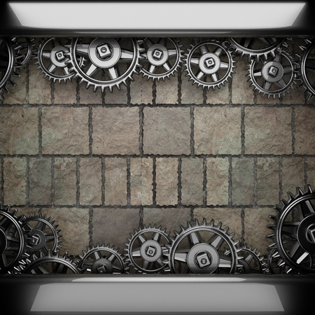metal gears: stone wall background with metal gears