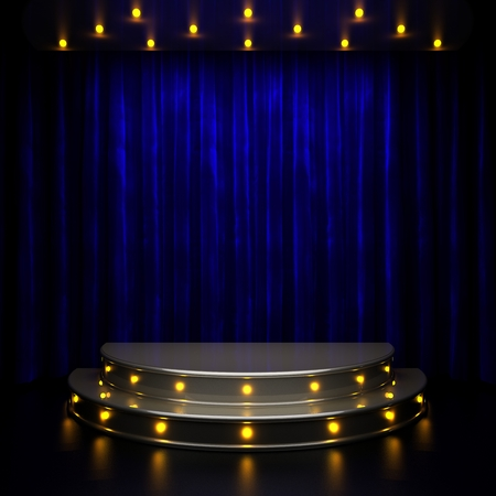 blue curtain: blue curtain stage with lights