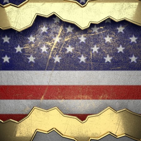 karats: golden background painted to US flag