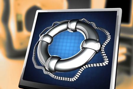 navigation aid: glossy Lifebuoy at monitor