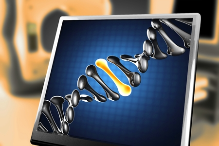 dna: DNA model on blue background at monitor Stock Photo