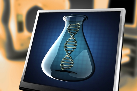 thymine: DNA model on blue background at monitor Stock Photo