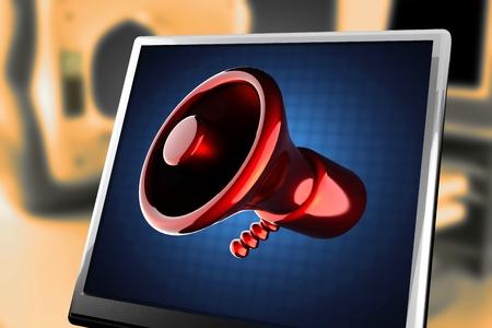 organise: metallic cartoon megaphone at monitor