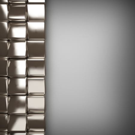 aluminum texture: polished metal element on gray background