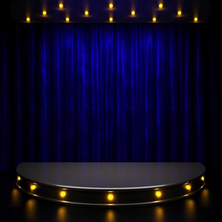 青いカーテン ライト ステージ