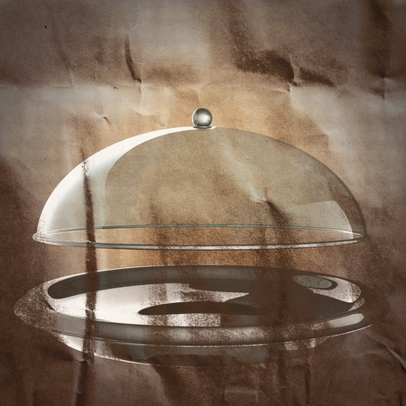 silver ware: Restaurant cloche painted on paper