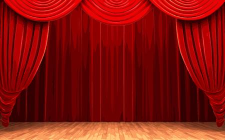 scenario: vector Red velvet curtain opening scene