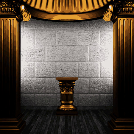 pilaster: vector stone wall and golden columns Illustration