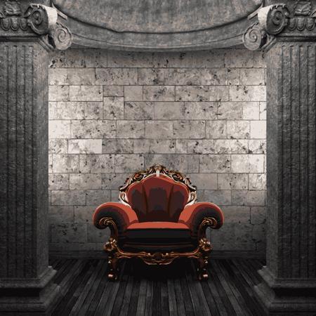 zuilen: vector stone columns and chair