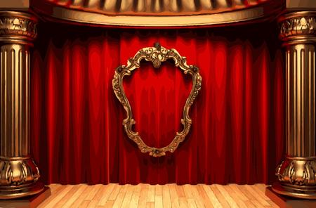 rev: vector golden frame and rev curtain stage Illustration